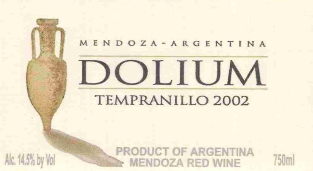 Dolium Winery Tempranillo 2002 Front Label