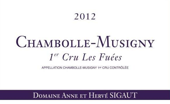 Domaine Anne et Herve Sigaut Chambolle-Musigny  Les Fuees Premier cru 2012 Front Label