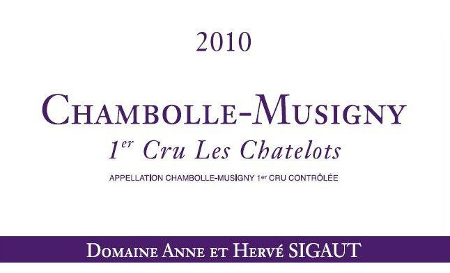 Domaine Anne et Herve Sigaut Chambolle-Musigny Les Chatelots Premier cru 2010 Front Label