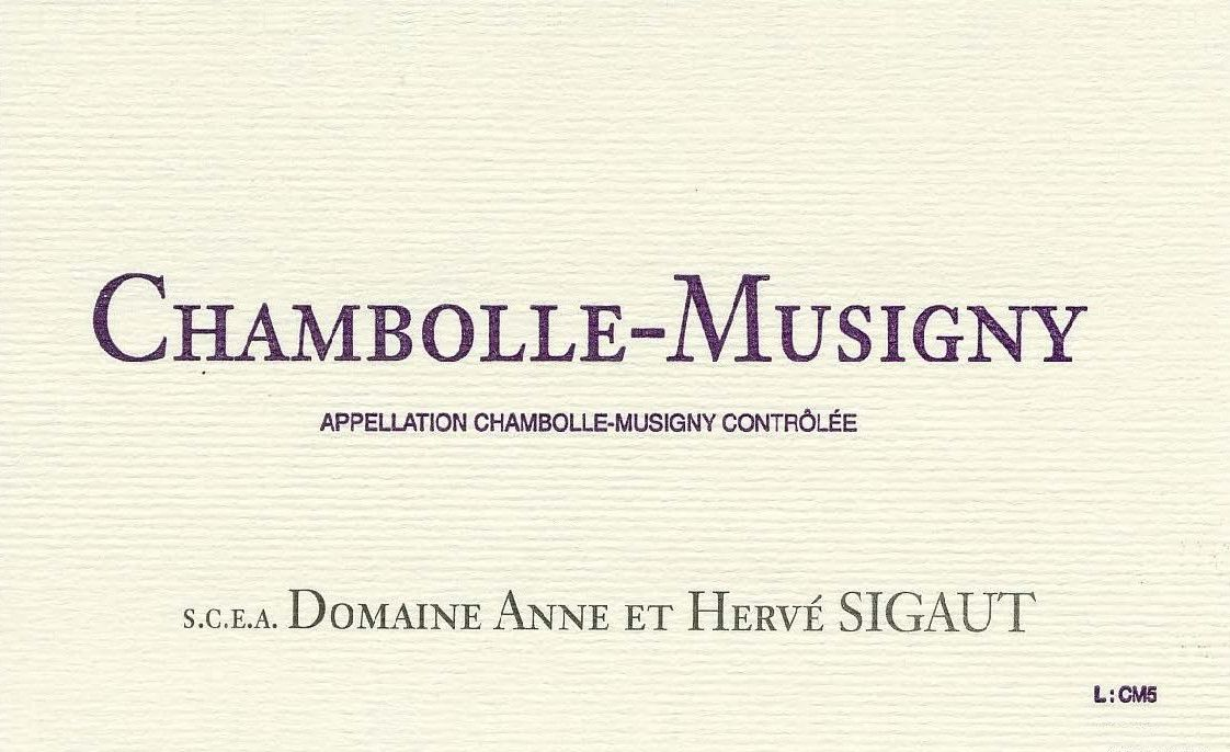 Domaine Anne et Herve Sigaut Chambolle-Musigny 2009 Front Label