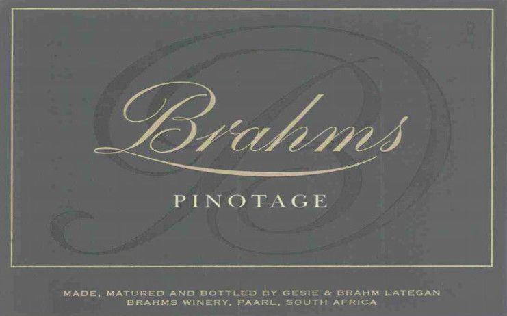 Domaine Brahms Pinotage 2008 Front Label