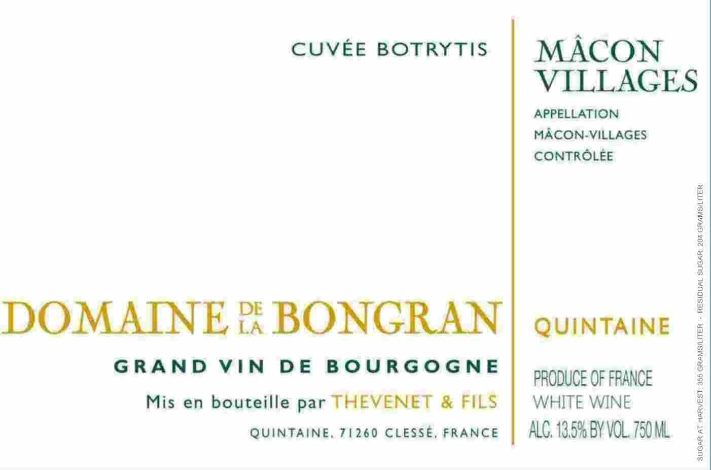 Domaine de la Bongran Macon Villages Cuvee Botrytis 2006 Front Label