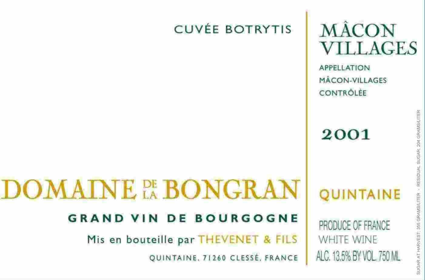Domaine de la Bongran Macon Villages Cuvee Botrytis 2001 Front Label