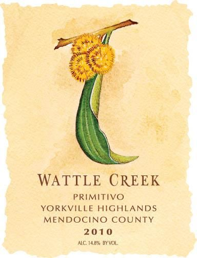 Wattle Creek Primitivo 2010 Front Label
