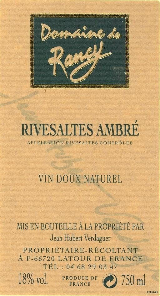 Domaine de Rancy Rivesaltes Ambre 2001 Front Label