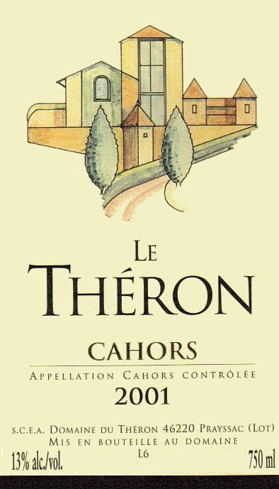 Domaine du Theron Cahors Le Theron 2001 Front Label