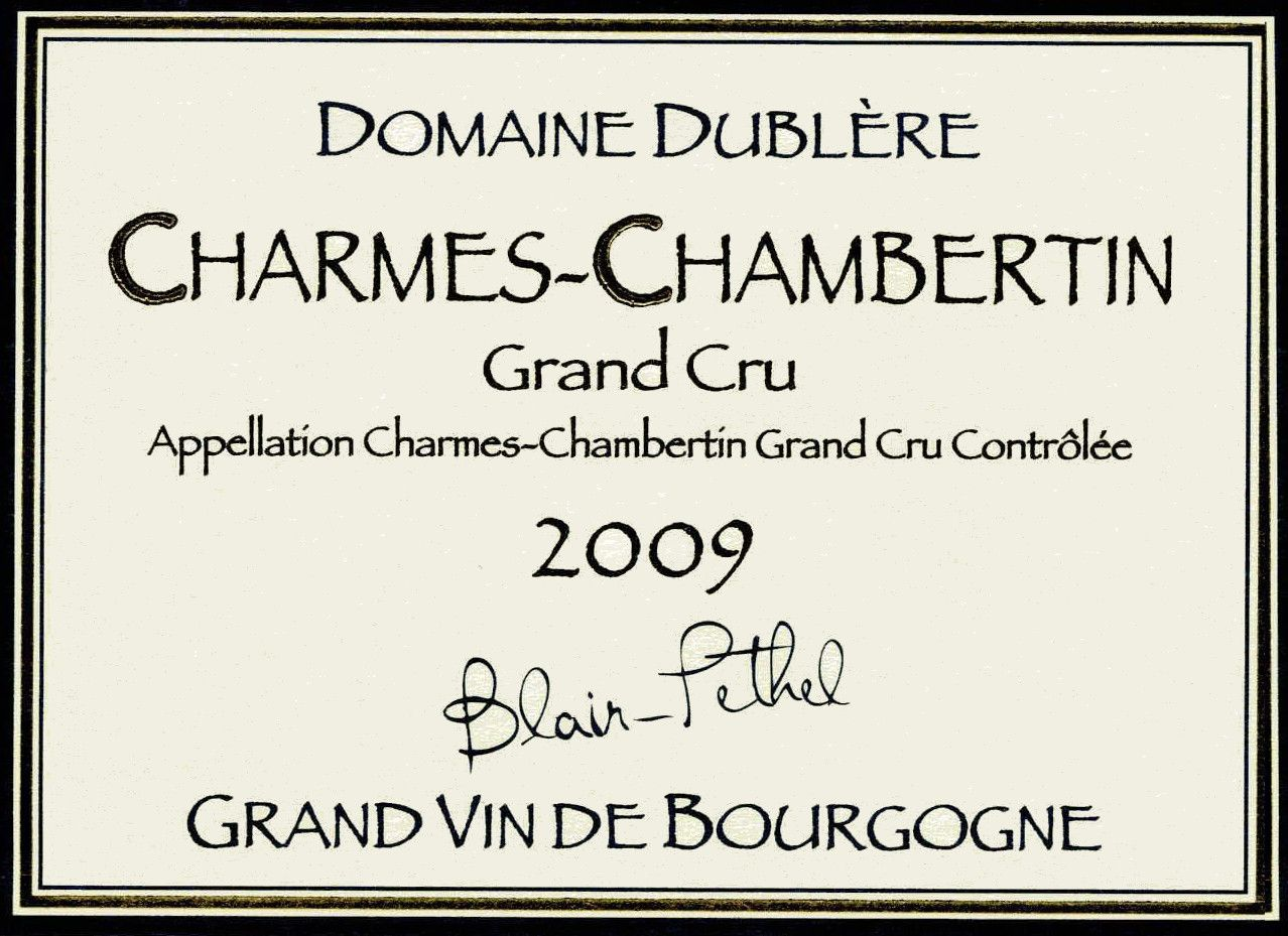 Domaine Dublere Charmes-Chambertin Grand Cru 2009 Front Label