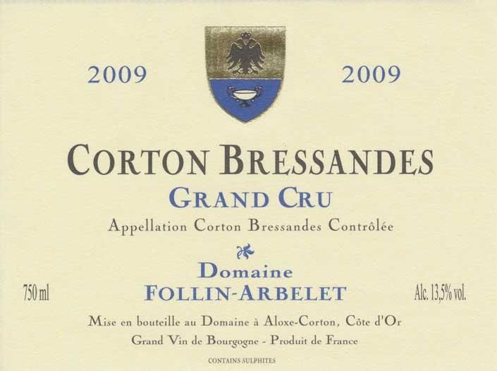 Domaine Follin-Arbelet Corton Bressandes Grand Cru 2009 Front Label