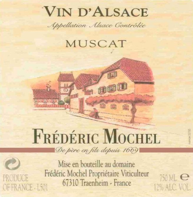Domaine Frederic Mochel Muscat 2012 Front Label