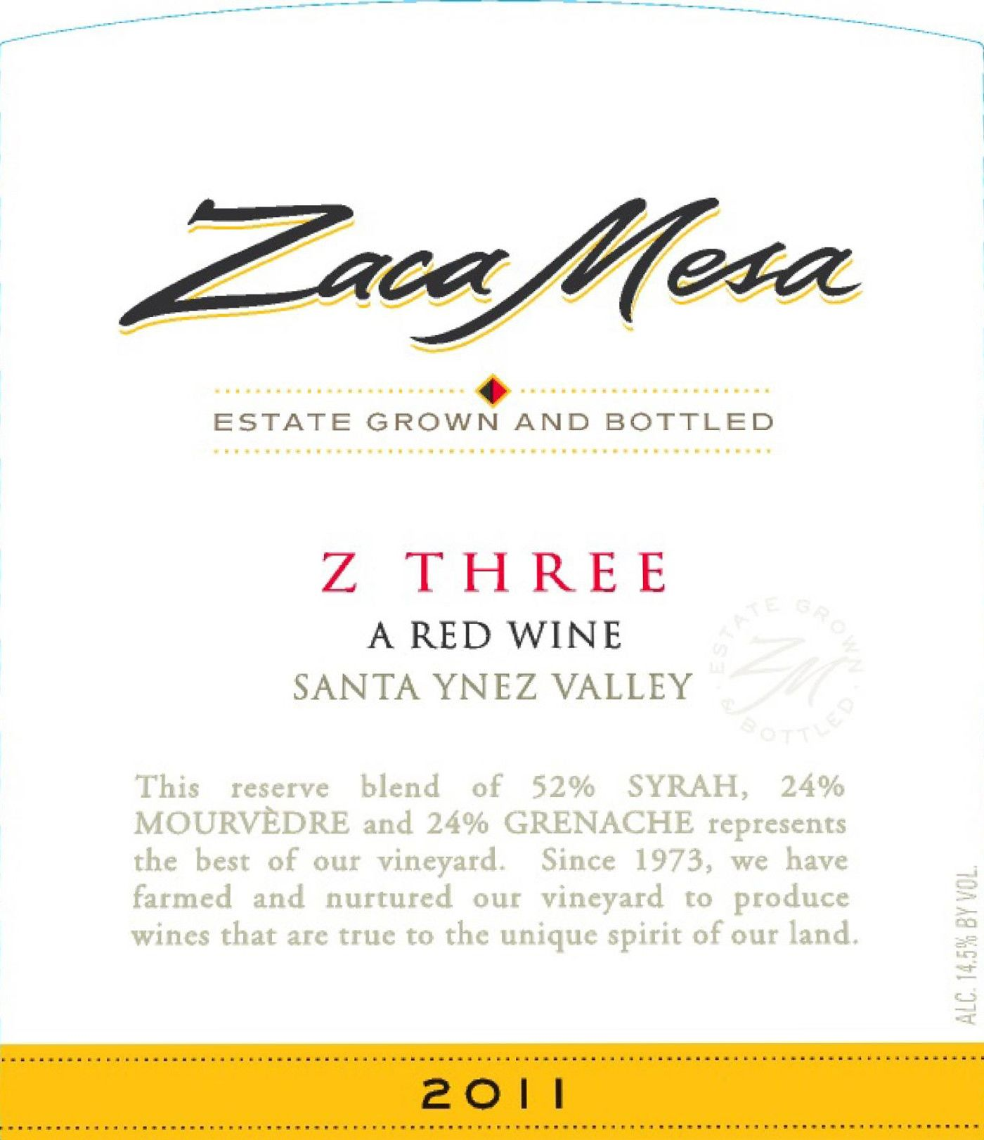Zaca Mesa Z Three Red Wine 2011 Front Label