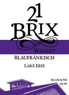 21 Brix Winery Lake Erie Blaufrankisch 2013 Front Label