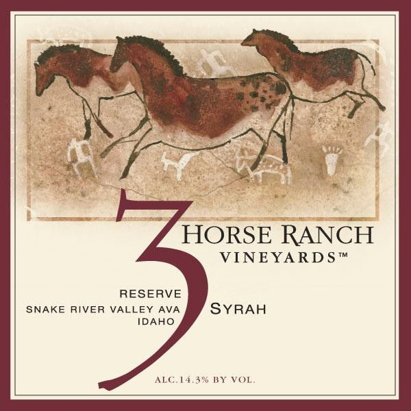 3 Horse Ranch Vineyards Reserve Syrah 2014 Front Label