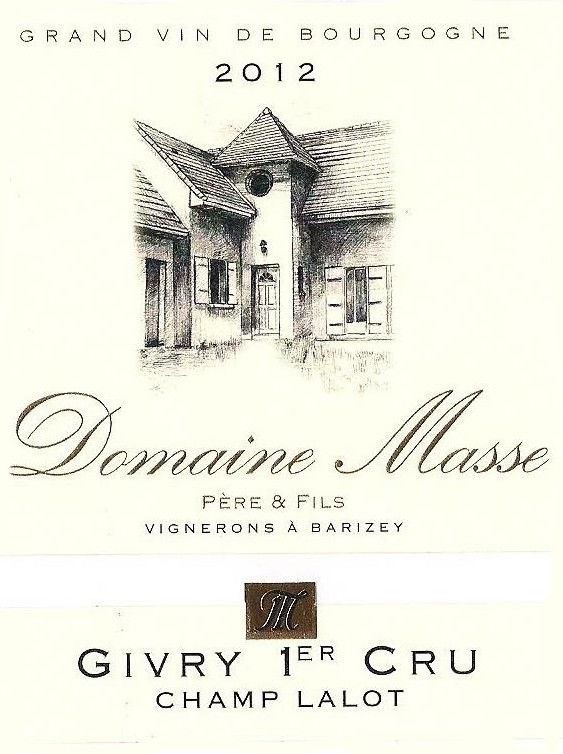 Domaine Masse Givry Champ Lalot Premier Cru 2012 Front Label