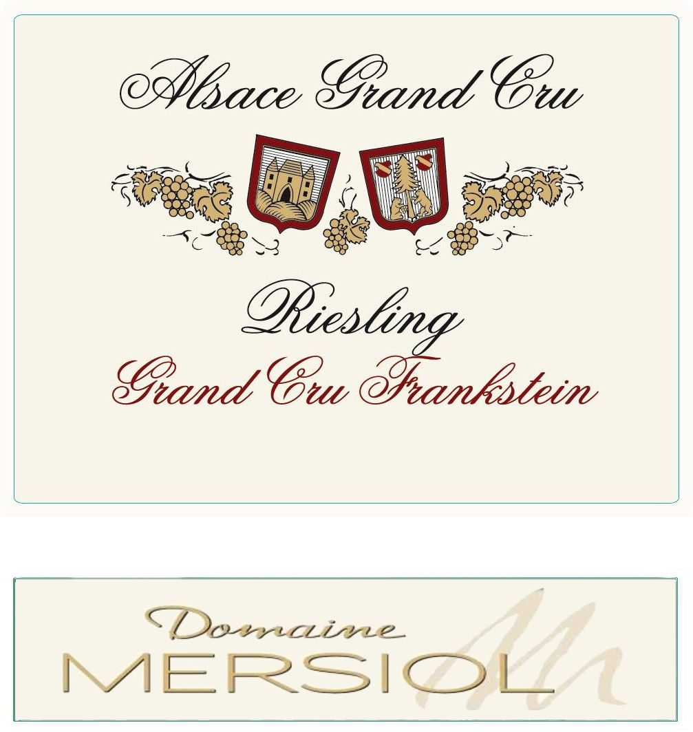 Domaine Mersiol Alsace Frankstein Grand Cru Riesling 2010 Front Label
