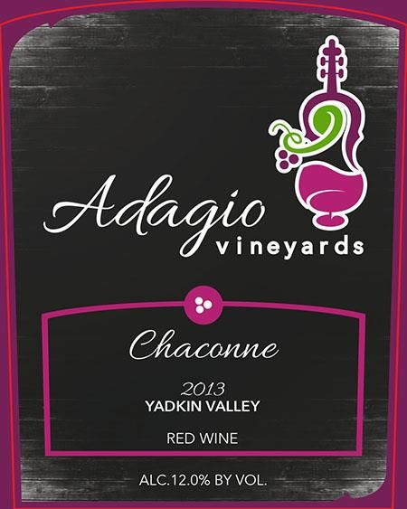 Adagio Vineyards Chaconne 2013 Front Label