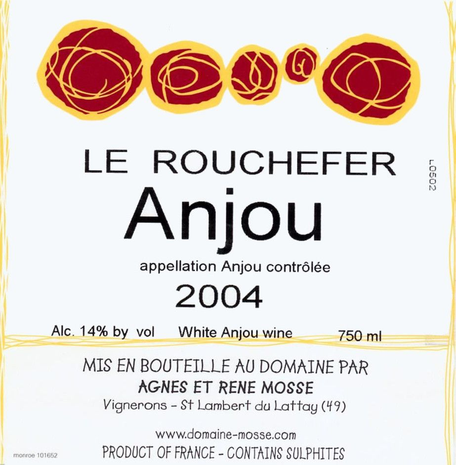 Domaine Mosse Anjou Le Rouchefer 2004 Front Label