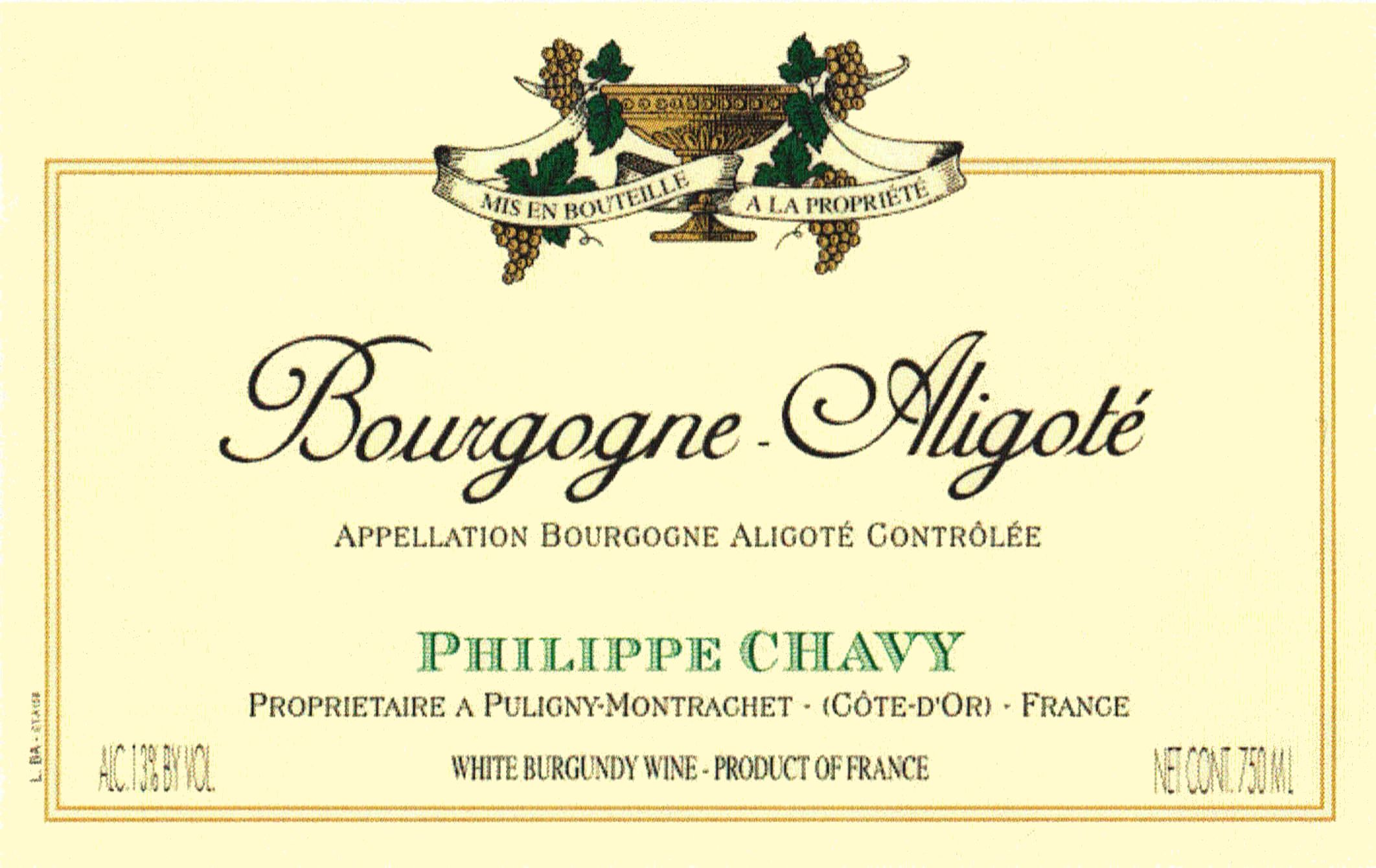 Domaine Phillipe Chavy Bourgogne Aligote 2012 Front Label