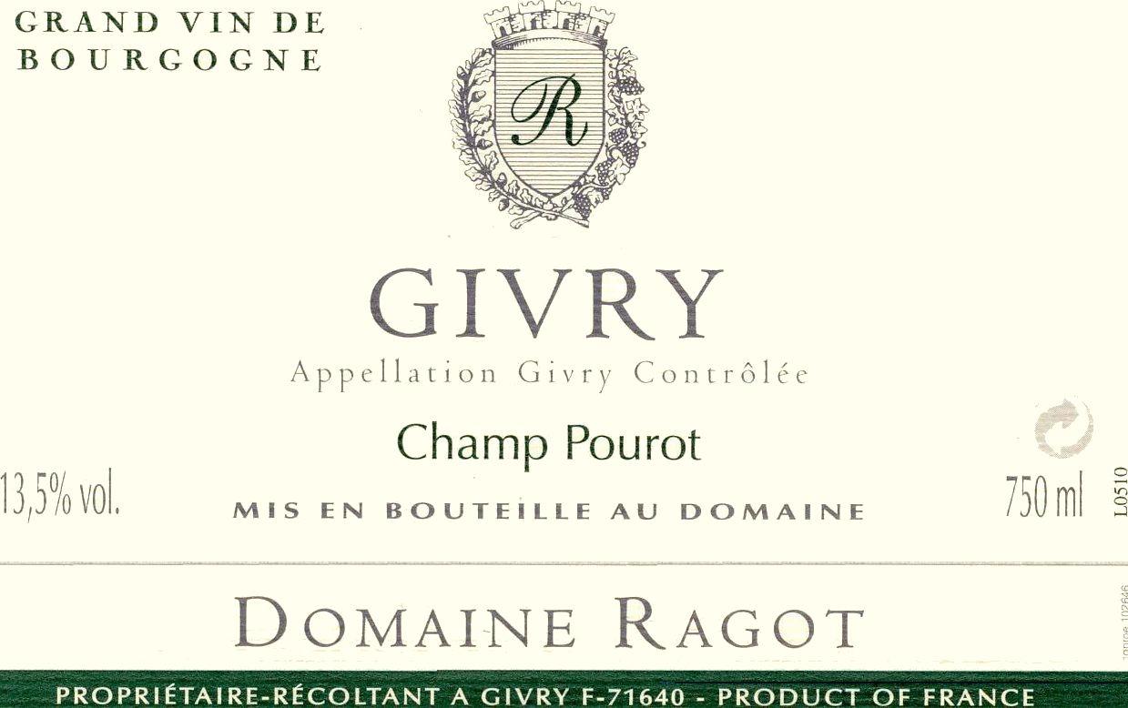 Domaine Ragot Givry Champ Pourot 2012 Front Label
