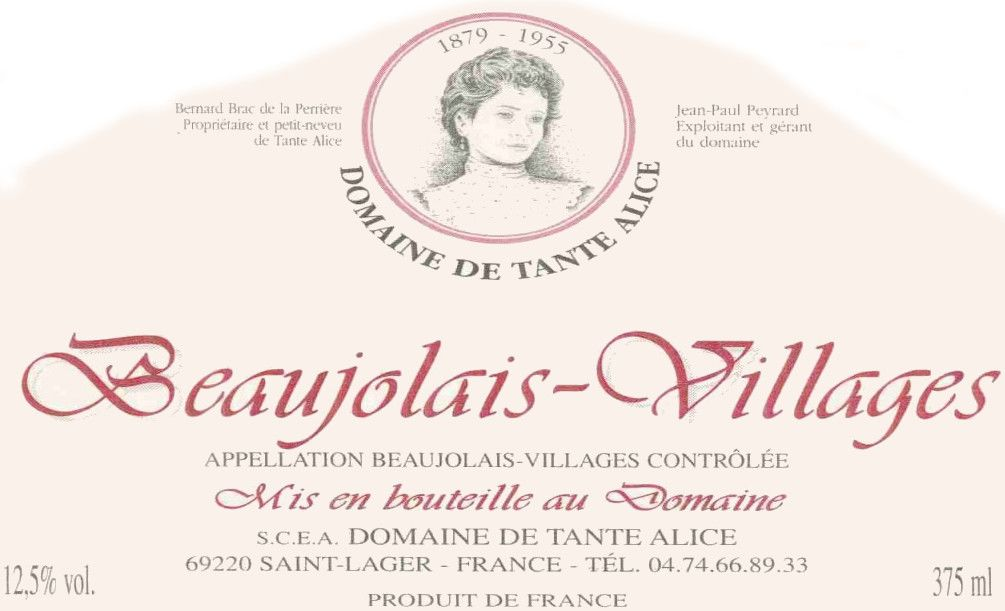 Domaine Tante Alice Beaujolais Villages 2012 Front Label