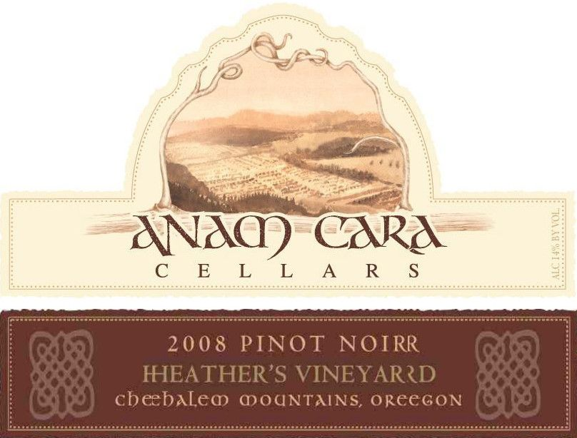 Anam Cara Heather's Vineyard Pinot Noir 2008 Front Label
