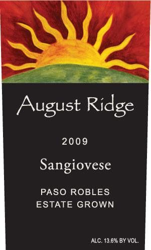 August Ridge Vineyards Sangiovese 2009 Front Label