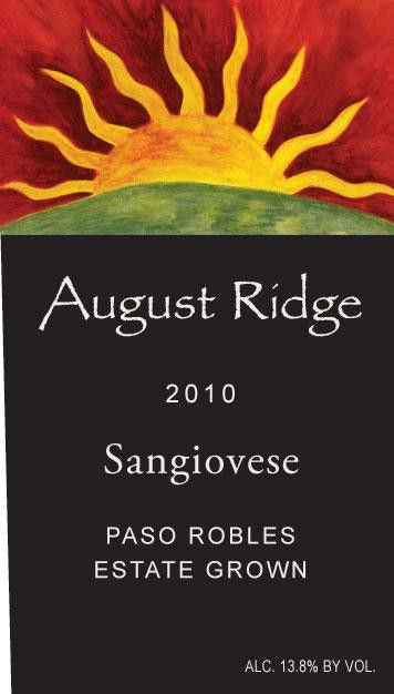 August Ridge Vineyards Sangiovese 2010 Front Label