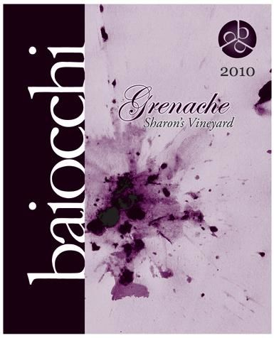 Baiocchi Sharon's Vineyard Grenache 2010 Front Label