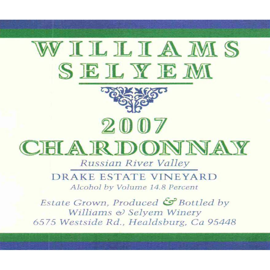 Williams Selyem Drake Estate Vineyard Chardonnay 2007 Front Label