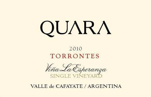Finca Quara Vina La Esperanza Single Vineyard Torrontes 2010 Front Label