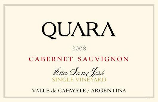 Finca Quara Vina San Jose Single Vineyard Cabernet Sauvignon 2008 Front Label