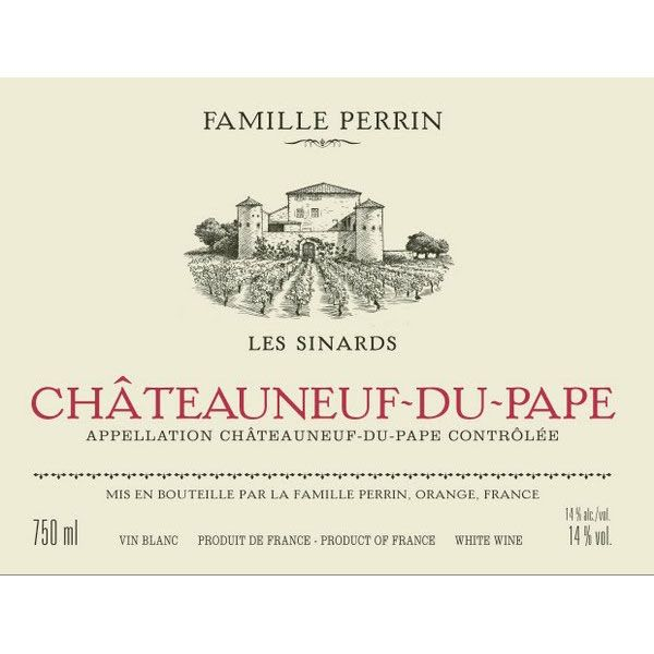 Famille Perrin Chateauneuf-du-Pape Les Sinards Blanc 2014 Front Label