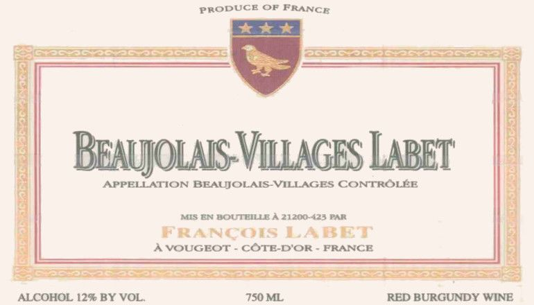Francois Labet Beaujolais Villages 2008 Front Label