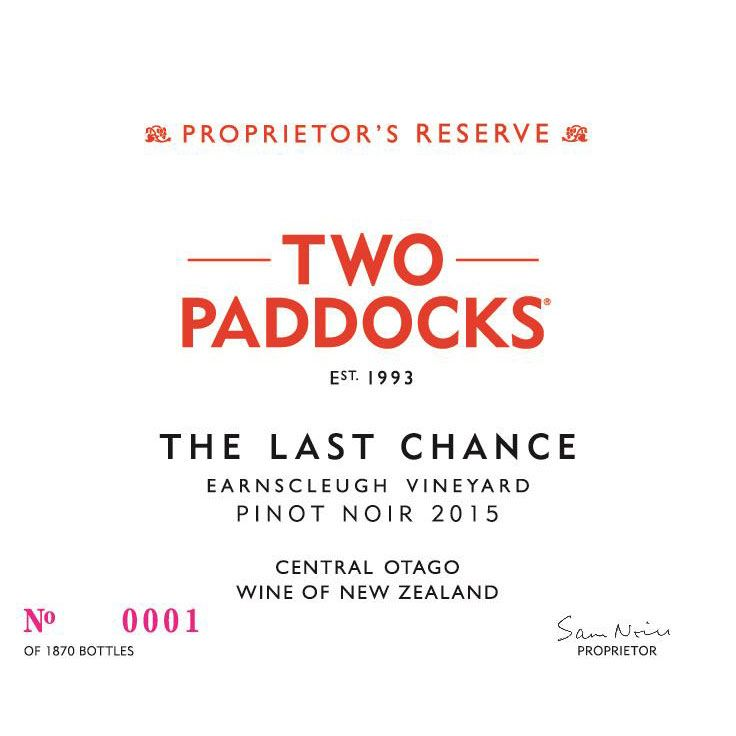 Two Paddocks The Last Chance Pinot Noir 2015 Front Label