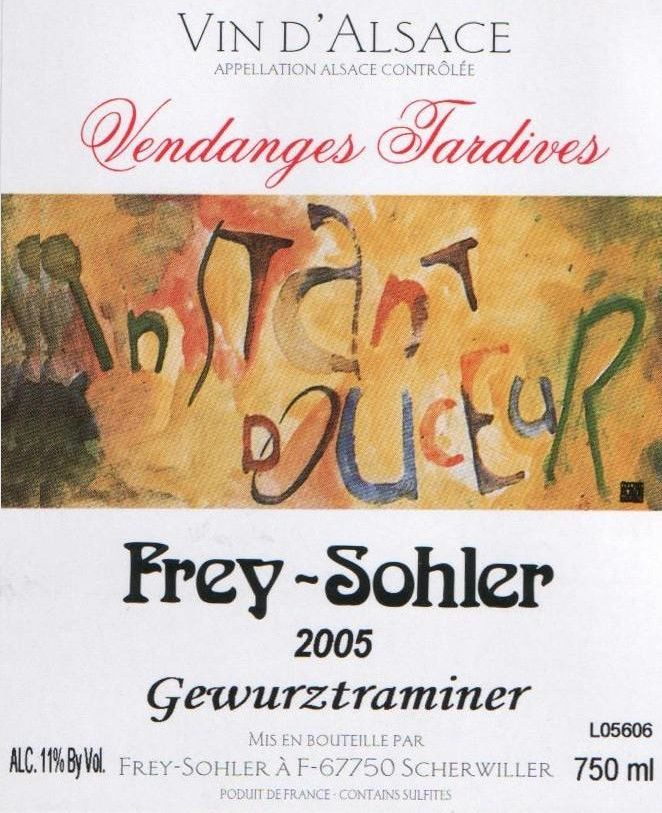 Frey-Sohler Vendanges Tardives Gewurztraminer 2005 Front Label