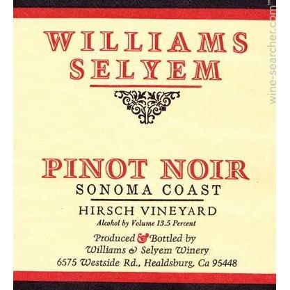Williams Selyem Sonoma Coast Pinot Noir 1998 Front Label