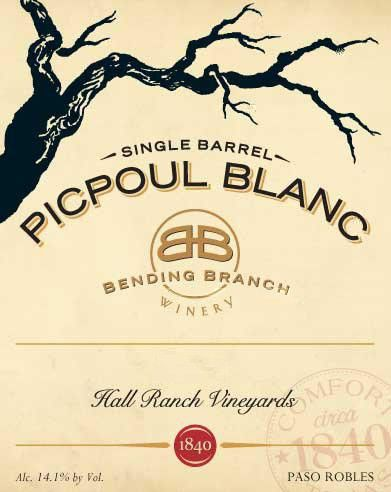 Bending Branch Winery Hall Ranch Vineyards Picpoul Blanc 2011 Front Label