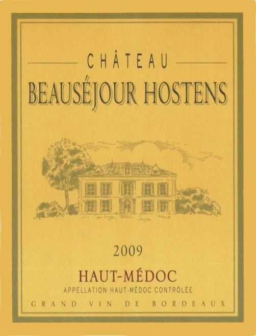 Grand Listrac Haut-Medoc Chateau Beausejour Hostens 2009 Front Label