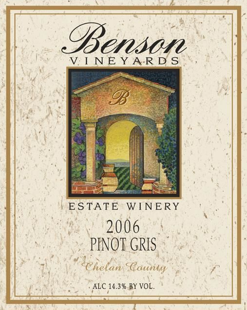 Benson Vineyards Estate Winery Pinot Gris 2006 Front Label