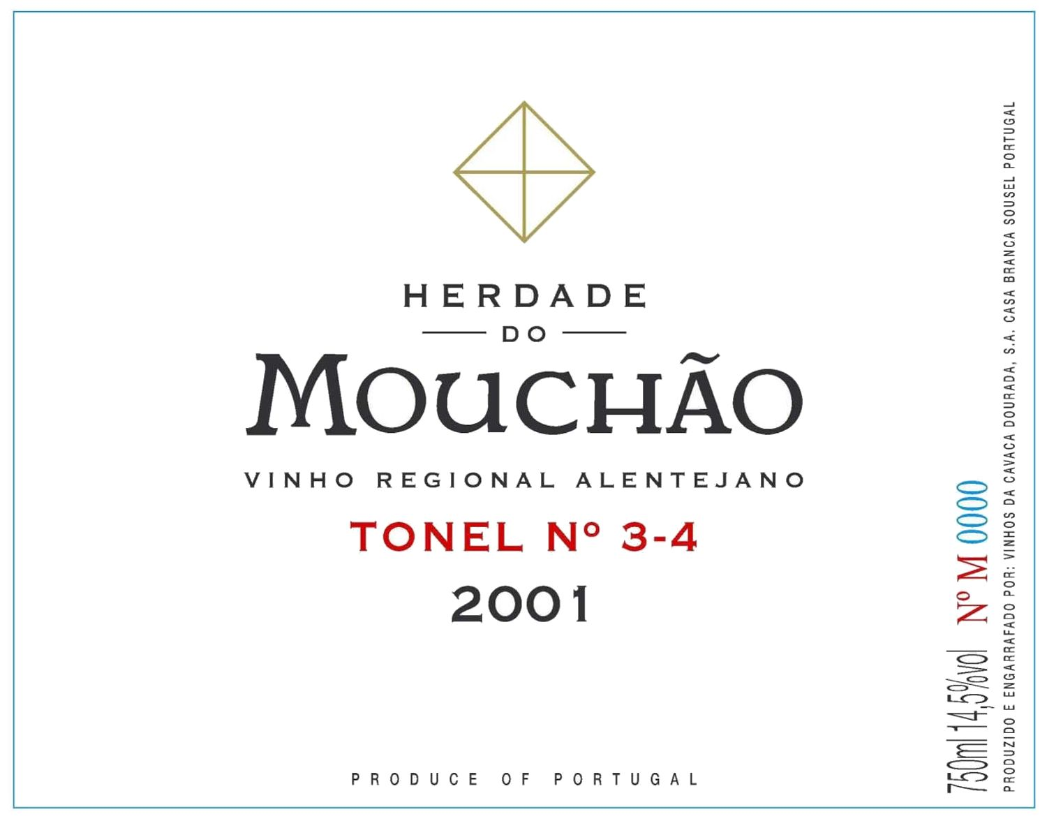 Herdade do Mouchao Tonel 3-4 2001 Front Label