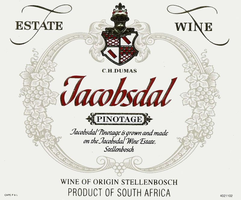 Jacobsdal Wine Estate Pinotage 2010 Front Label