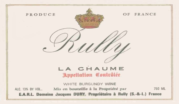 Jacques Dury Rully La Chaume 2014 Front Label