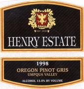 Henry Estate Pinot Gris 1998 Front Label
