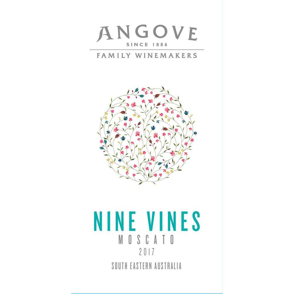 Angove Family Winemakers Nine Vines Moscato 2017 Front Label