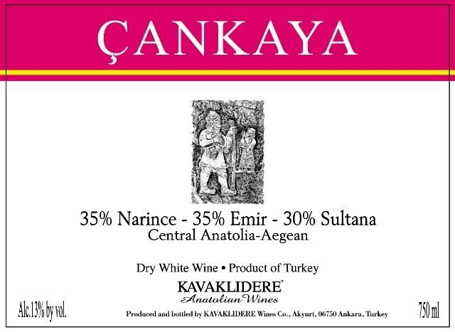 Kavaklidere Wines Co Cankaya 2014 Front Label