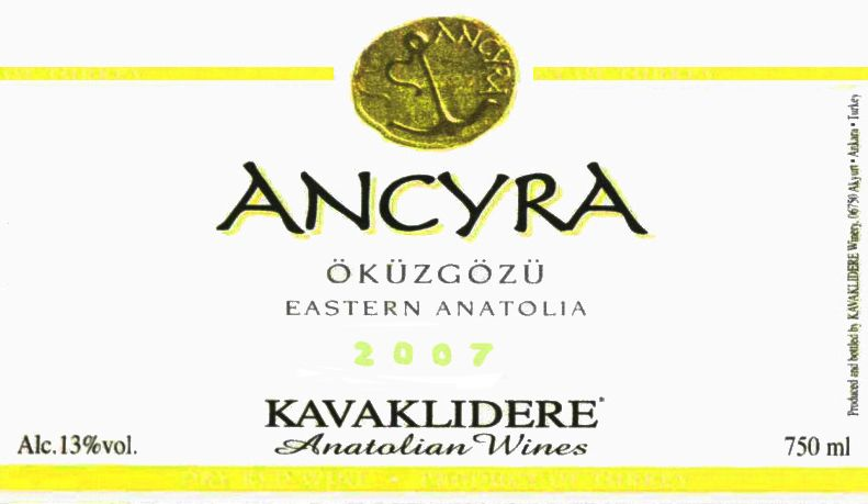 Kavaklidere Wines Co Ancyra Okuzgozu 2007 Front Label