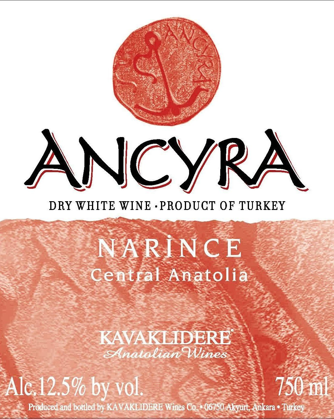 Kavaklidere Wines Co Ancyra Narince 2014 Front Label