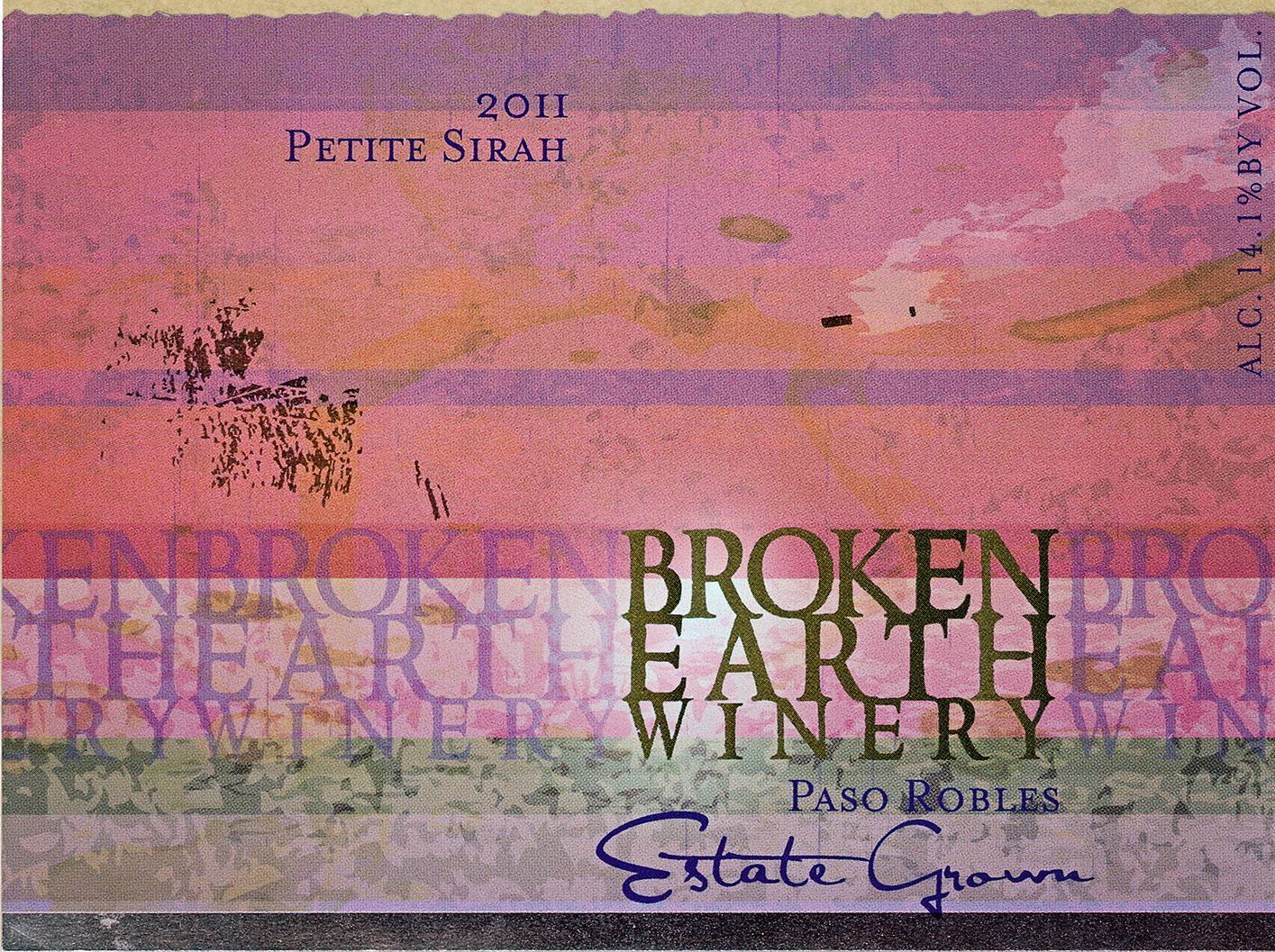 Broken Earth Winery Petite Sirah 2011 Front Label