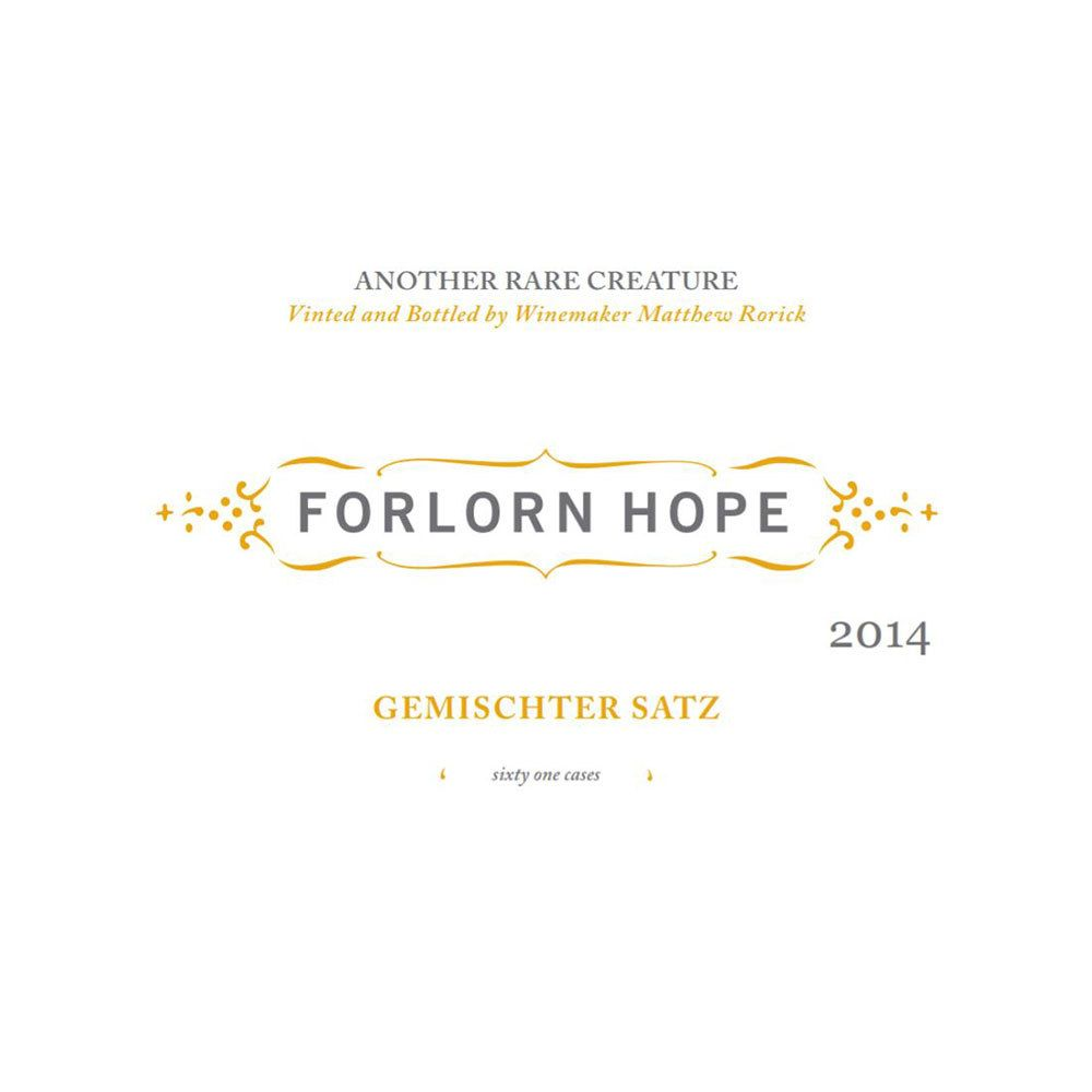 Forlorn Hope Gemischter Satz White Wine 2014 Front Label