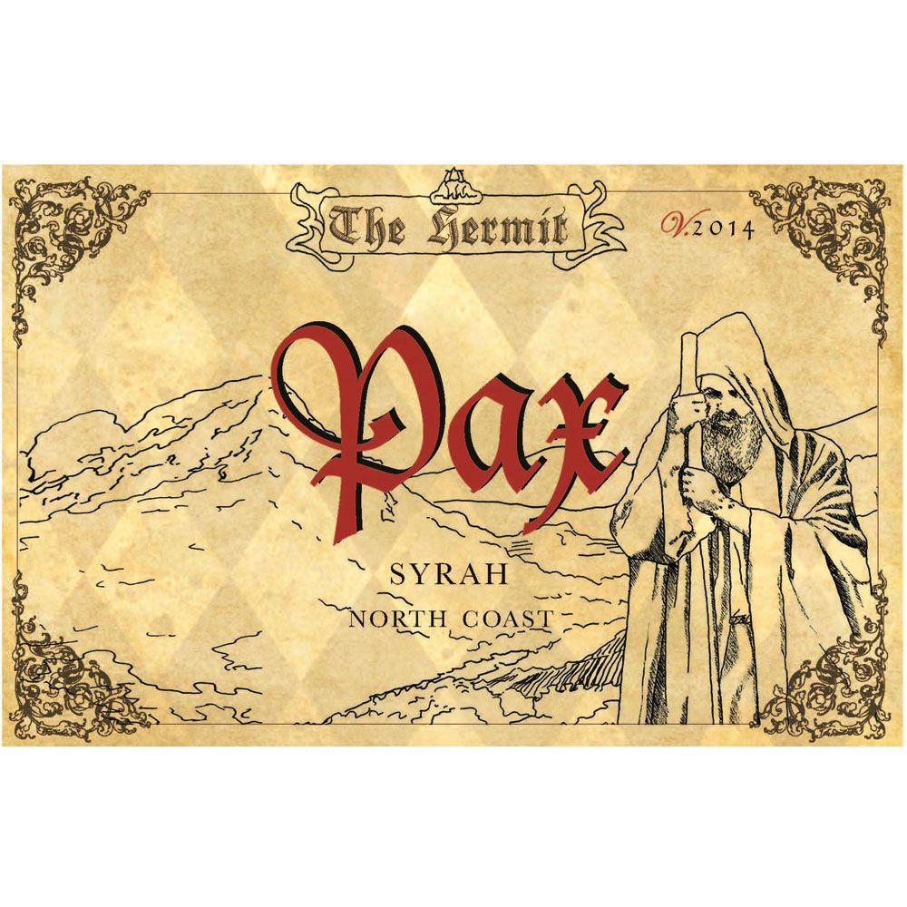 Pax The Hermit Syrah 2014 Front Label