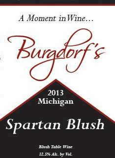 Burgdorf's Winery Spartan Blush 2013 Front Label